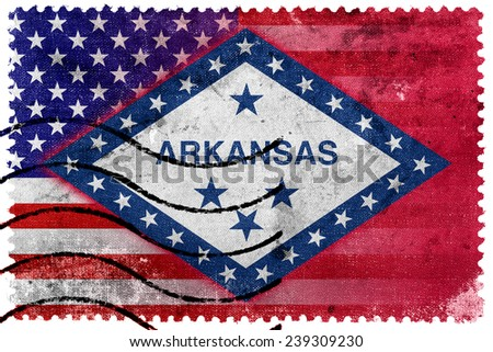 USA and Arkansas State Flag - old postage stamp - stock photo