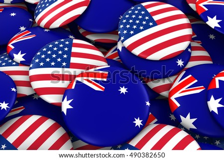USA and Australia Badges Background - Pile of American and Australian Flag Buttons 3D Illustration
