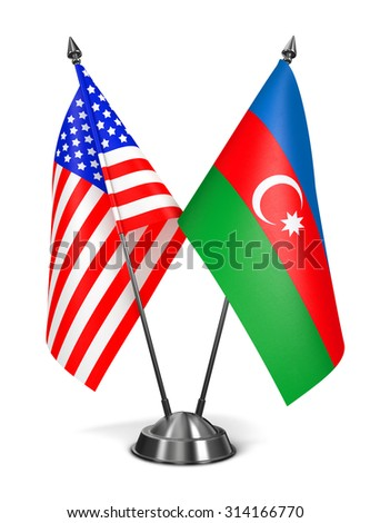 USA and Azerbaijan - Miniature Flags Isolated on White Background. - stock photo