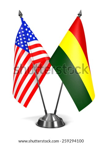 USA and Bolivia - Miniature Flags Isolated on White Background. - stock photo