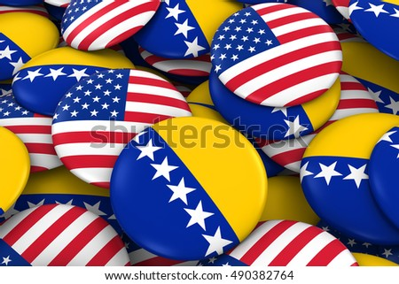 USA and Bosnia Herzegovina Badges Background - Pile of American and Bosnian Herzegovinan Flag Buttons 3D Illustration