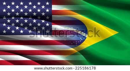 USA and Brazil. Relations between two countries. Conceptual image. - stock photo