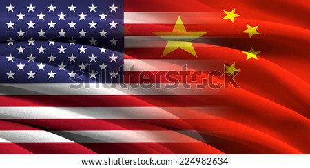 USA and China. Relations between two countries. Conceptual image. - stock photo