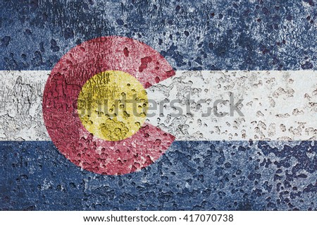 USA and Colorado State Flag painted on grunge metal - stock photo