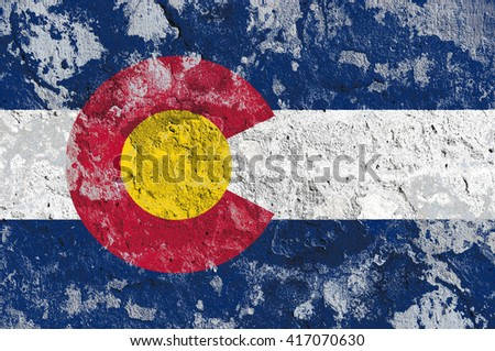USA and Colorado State Flag painted on grunge wall - stock photo