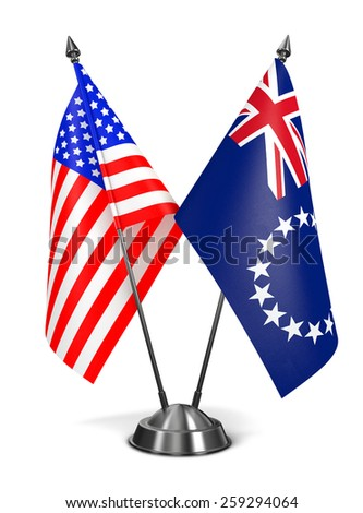 USA and Cook Islands - Miniature Flags Isolated on White Background. - stock photo