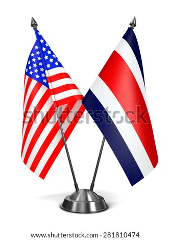 USA and Costa Rica - Miniature Flags Isolated on White Background. - stock photo