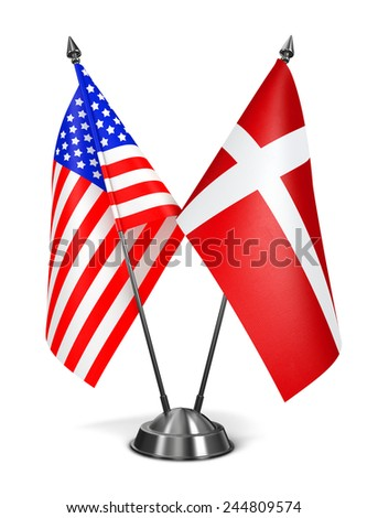 USA and Denmark - Miniature Flags Isolated on White Background. - stock photo