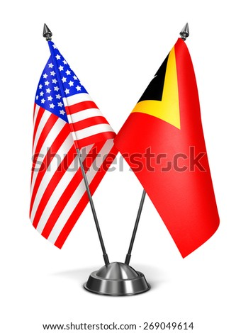 USA and East Timor - Miniature Flags Isolated on White Background. - stock photo