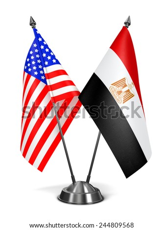USA and Egypt - Miniature Flags Isolated on White Background. - stock photo
