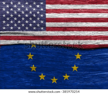 USA and EU flag on old wood texture pattern background