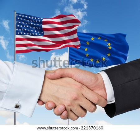 USA and European Union Alliance - stock photo