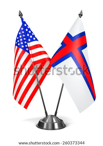 USA and Faroe Islands - Miniature Flags Isolated on White Background. - stock photo