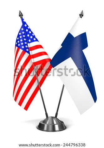 USA and Finland - Miniature Flags Isolated on White Background. - stock photo