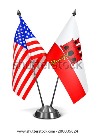 USA and Gibraltar - Miniature Flags Isolated on White Background. - stock photo