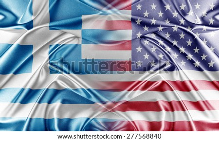 USA and Greece. Relations between two countries. Conceptual image. - stock photo