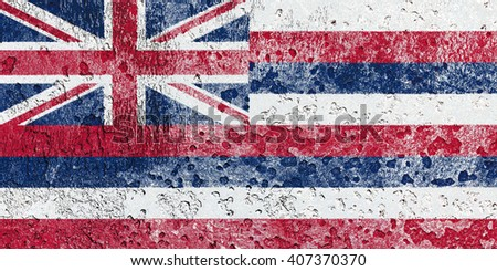 USA and Hawaii State Flag painted on grunge metal