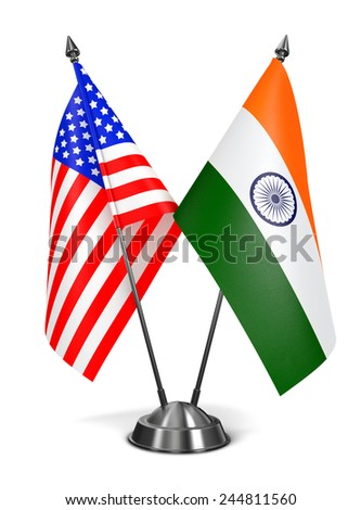 USA and India - Miniature Flags Isolated on White Background. - stock photo