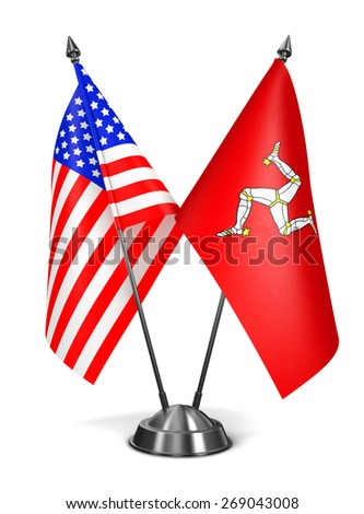 USA and Isle Man - Miniature Flags Isolated on White Background. - stock photo