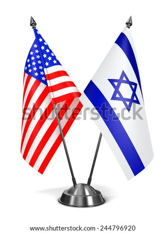 USA and Israel - Miniature Flags Isolated on White Background. - stock photo