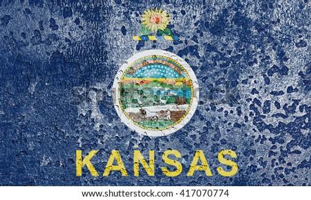 USA and Kansas State Flag painted on grunge metal - stock photo