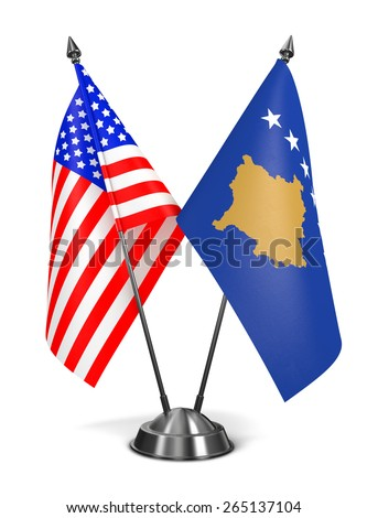 USA and Kosovo - Miniature Flags Isolated on White Background. - stock photo