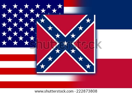 USA and Mississippi State Flag - stock photo