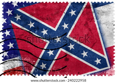 USA and Mississippi State Flag - old postage stamp - stock photo