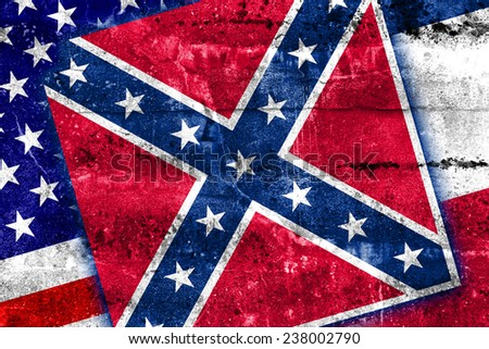 USA and Mississippi State Flag painted on grunge wall - stock photo