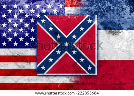 USA and Mississippi State Flag with a vintage and old look