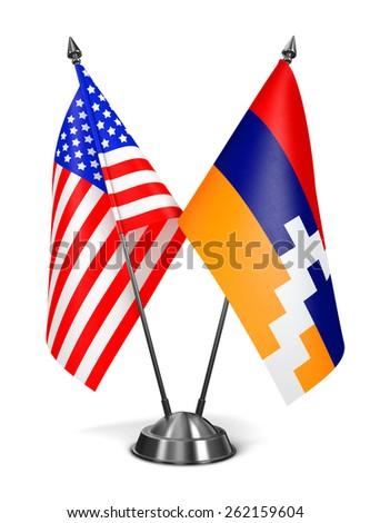 USA and Nagorno-Karabakh - Miniature Flags Isolated on White Background. - stock photo