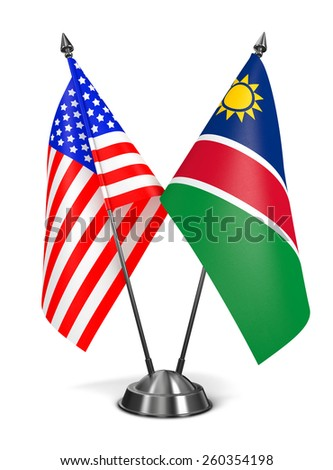 USA and Namibia - Miniature Flags Isolated on White Background. - stock photo