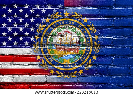 USA and New Hampshire State Flag painted on brick wall