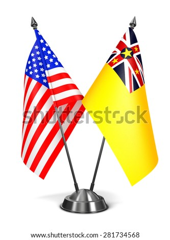 USA and Niue - Miniature Flags Isolated on White Background. - stock photo