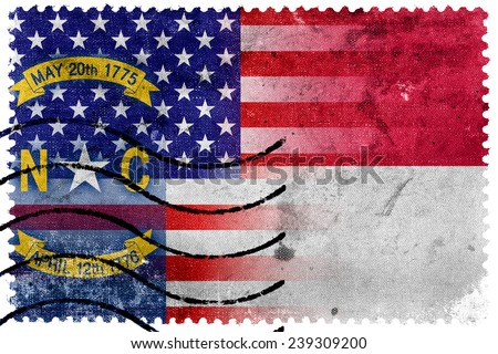 USA and North Carolina State Flag - old postage stamp