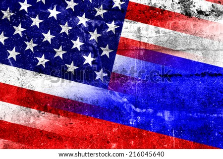 USA and Russia Flag painted on grunge wall - stock photo
