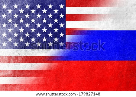 USA and Russia Flag painted on leather texture - stock photo