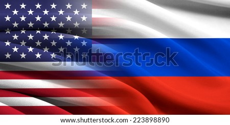 USA and Russia. Relations between two countries. Conceptual image. - stock photo