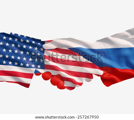 USA and Russian handshake on a white  background. - stock photo