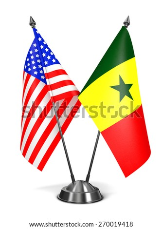 USA and Senegal - Miniature Flags Isolated on White Background. - stock photo