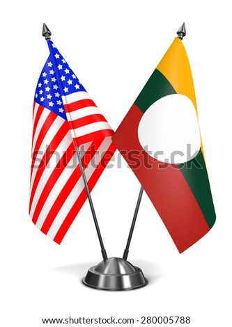 USA and Shan State - Miniature Flags Isolated on White Background. - stock photo