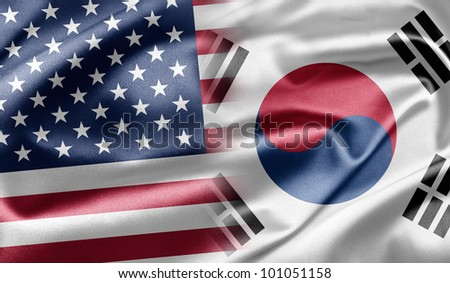 USA and South Korea - stock photo