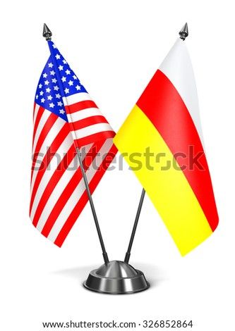 USA and South Ossetia - Miniature Flags Isolated on White Background. - stock photo