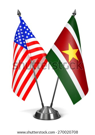 USA and Suriname - Miniature Flags Isolated on White Background. - stock photo