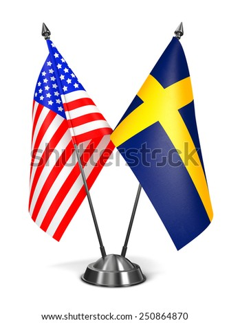 USA and Sweden - Miniature Flags Isolated on White Background. - stock photo