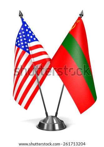 USA and Transnistria - Miniature Flags Isolated on White Background. - stock photo
