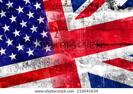 USA and UK Flag painted on grunge wall - stock photo