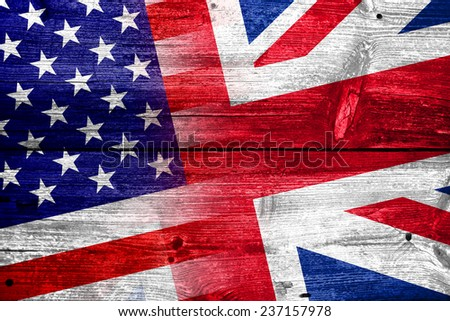 USA and UK Flag painted on old wood plank texture - stock photo