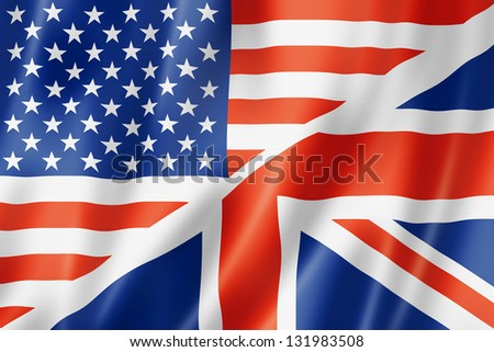 USA and UK flag, three dimensional render, satin texture. speaking english symbol - stock photo