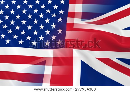 USA and UK Relations Concept Image - Flags of the United States of America and the United Kingdom Fading Together - stock photo
